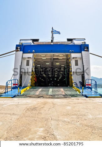 Open car ferry ramp. Port of Zakynthos. Ionian Islands, Greece.