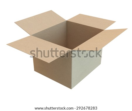 open cardboard box of the recycled paper, side view
