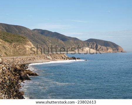 Open Coastline and Pacific Coast Hwy in Southern California