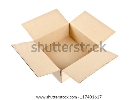 Open Corrugated Cardboard Boxes Isolated on White
