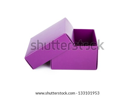 Open empty purple box, isolated on white background