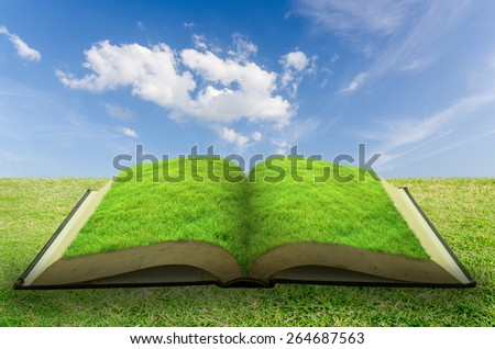 Open grass book with blue sky background