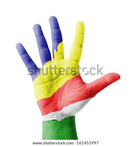 Open hand raised, multi purpose concept, Seychelles flag painted - isolated on white background