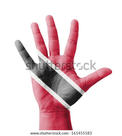 Open hand raised, multi purpose concept, Trinidad and Tobago flag painted - isolated on white background