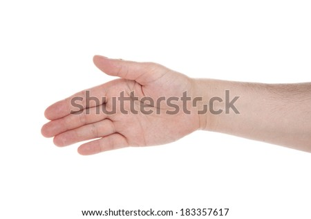 open hand to greet, ready to seal a deal, isolated on a white background