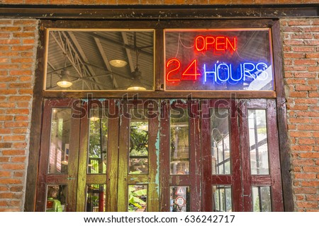 open 24 hours sign on the old crimson door with brick wall and cement floor in & Open 24 Hours Neon Sign On Stock Photo 576025522 - Shutterstock Pezcame.Com