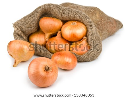 Open jute sack with ripe onions, isolated on white background