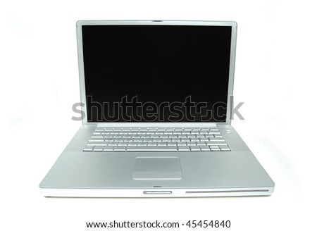 Open lap top showing keyboard and screen