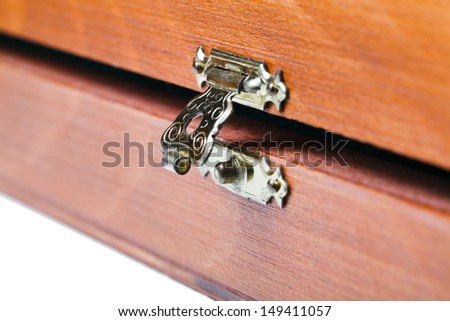 open metal lock of wooden box close up