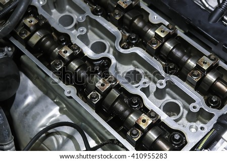 open metal petrol engine close up