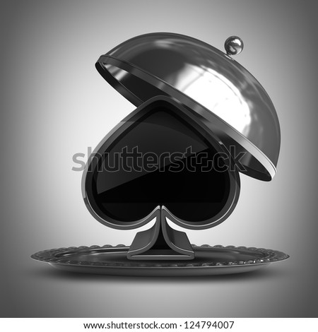 Open metal silver platter or cloche with card sign. High resolution 3d render