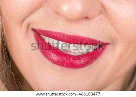 Open Mouth And Woman Smile with Red Lips and White Teeth.