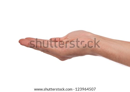 Open palm hand gesture of male hand. Isolated on a  white background.