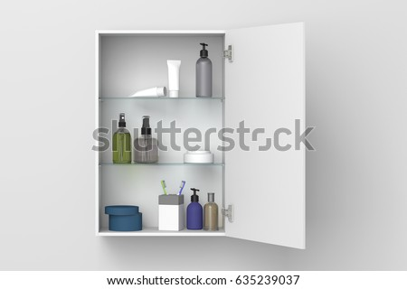 open white bathroom cabinet with cosmetics and bath products isolated on white wall with clipping path