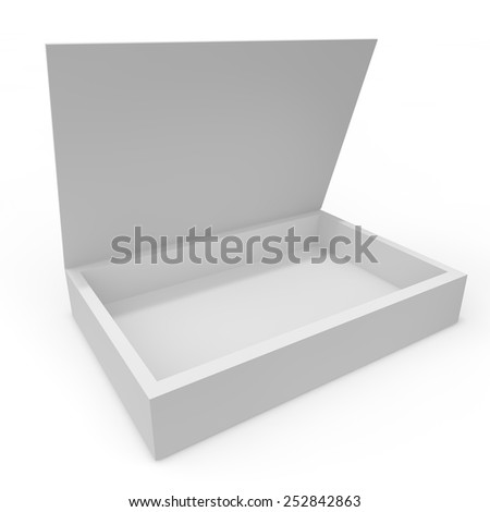 Open white blank box of chocolates, gifts and other goods and products