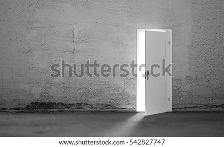 Open white door in a empty grey room. 3D illustration