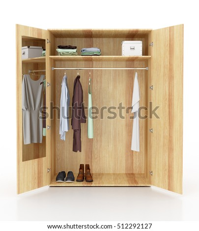 Open White Wardrobe Isolated With And Mirror On Background Include Clipping Path 3d