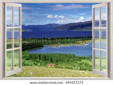 Open window panoramic view to river with farmland and mountains, Norway