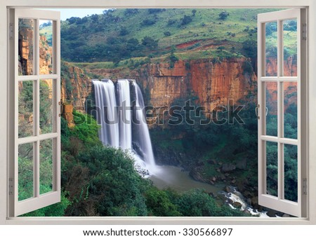 Open window view to Elands River Falls in Mpumalanga state of South Africa