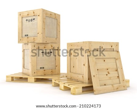 Open wooden box without lid on pallet. Packing signs print. Isolated on white.