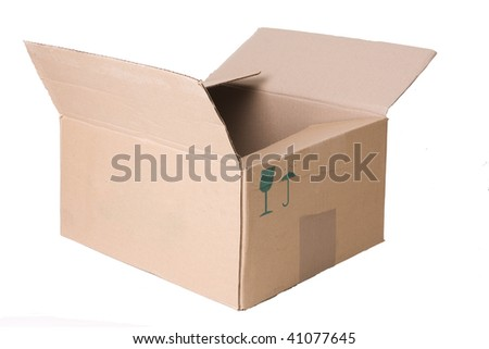 opened cardboard box isolated on white