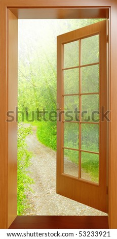 Opened door from tropical wood to early morning in green garden - conceptual image - environmental & Opened Door Early Morning Green Garden Stock Photo 53233924 ... Pezcame.Com