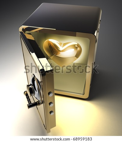 Opened golden safe with gold heart isolated on black background. 3D render