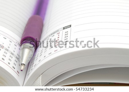 Opened lined diary with a ball pen inside