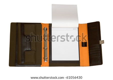 Opened portfolio case with space for text, isolated on white.