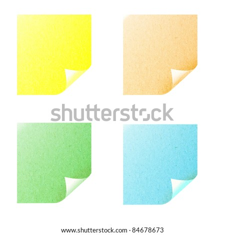 Opened recycled paper sticky note stick on white background