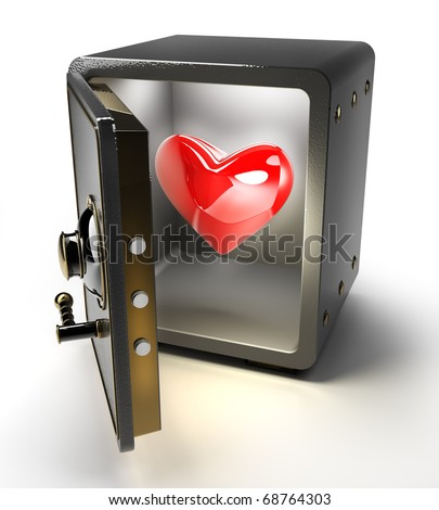 Opened safe with red heart isolated on white background. 3D render