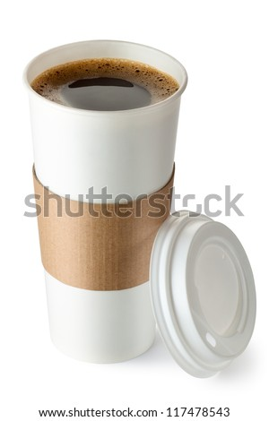 Opened take-out coffee with cup holder. Isolated on a white.