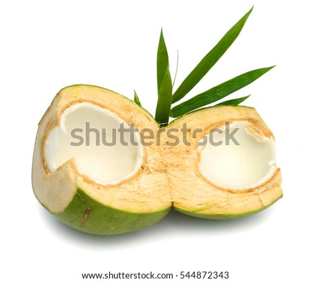 Opened young coconut isolated on white background