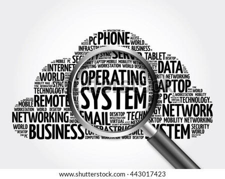 Operating System word cloud with magnifying glass, business concept 3D illustration