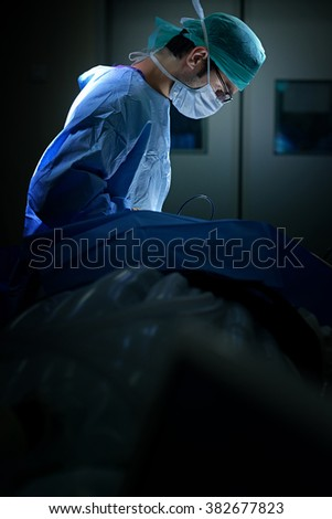 Operation being done on a patient in an operating