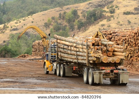 Log truck delivers load logs log stock photo 134853560 for Mill log