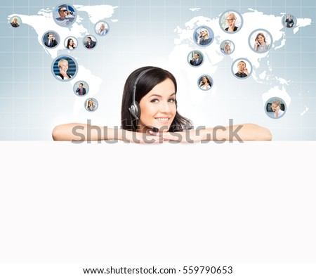 Operator working in a call center office. Customer support and a global business concept. Worldwide map with a businesspeople talking to phone.