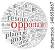 Opportunity and success concept in word tag cloud on white - stock photo