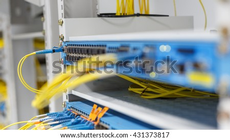 optic fiber cables connected to data center. Has cable. fiber optic. the network of telecoms. In digital communication systems is Link. Through late LC