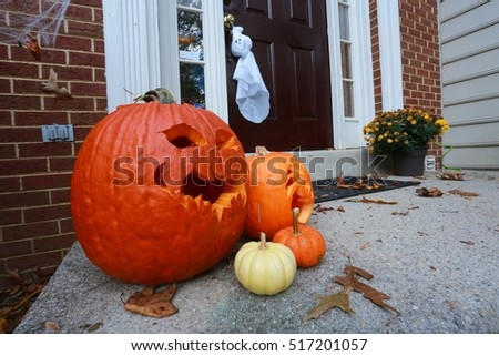 Orange and Yellow Halloween Pumpkins on Doorstep of Town House with Red Brick Walls Autumn & Halloween Pumpkins Stock Photo 513377650 - Shutterstock pezcame.com