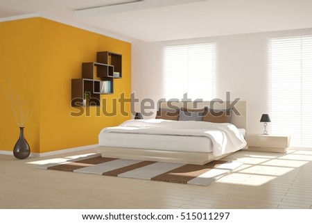 Orange bedroom. Scandinavian interior design. 3D illustration