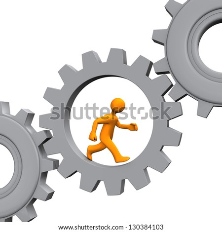 Orange cartoon character runs in the grey gear. White background.