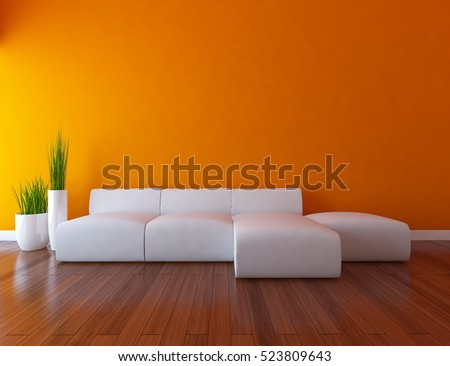 orange empty interior with a white sofa and vases 3d illustration