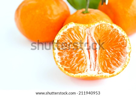 Orange fruit isolated on white background and clipping path.