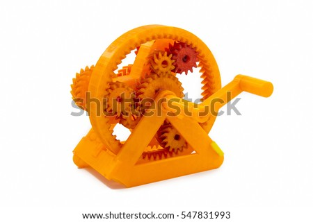 Orange Gear Shaped Object Printed With 3D Printer
