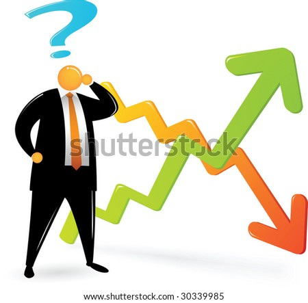 Orange Head Man with black suit confusing about chart