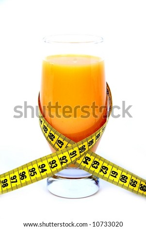 Orange juice and measuring tape.