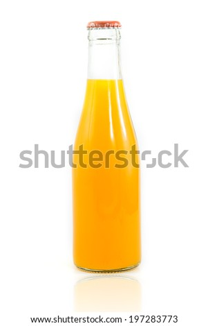 orange juice in glass bottle isolate on white
