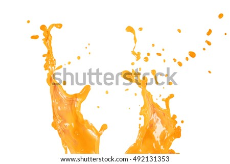 Orange juice splash abstract water isolated on white background