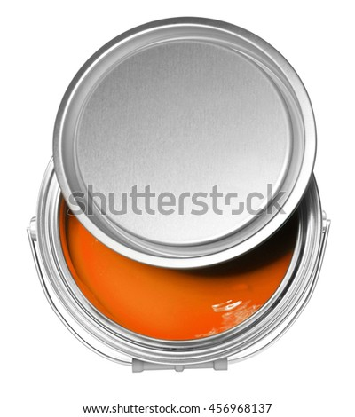 Orange paint can and cover, isolated on white background